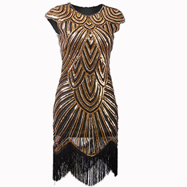 Wish | Flapper Dress 1920s Dresses Sequins Beaded Fringed Party ...