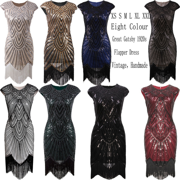 3c144ca5db45 Flapper Dress 1920s Dresses Sequins Beaded Fringed Party Cocktail ...