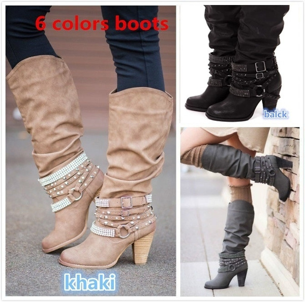 exclusive deals good selling well known Autumn Winter New Women Slouch Knee High Buckle Strap Heeled Boots ...
