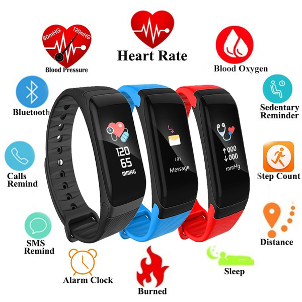 Smartwatch Heart Rate Monitor Bracelet Sleep Monitor Calorie Counter  Waterproof Weather Mode Information Sync Activity Fitness Tracker Wristband  for