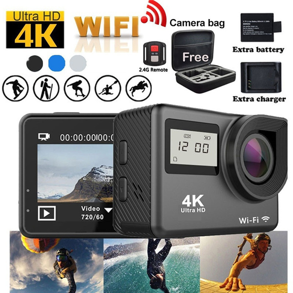 4K Touchscreen Action Camera WiFi Dual Screen 12MP Ultra HD 30M Waterproof  DV Sports Camcorder 170 Degree Wide Angle Lens Free Travel Bag