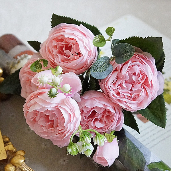 Wish | 5Heads Artificial Rose Bouquet Silk Fake Flower with Leaves ...