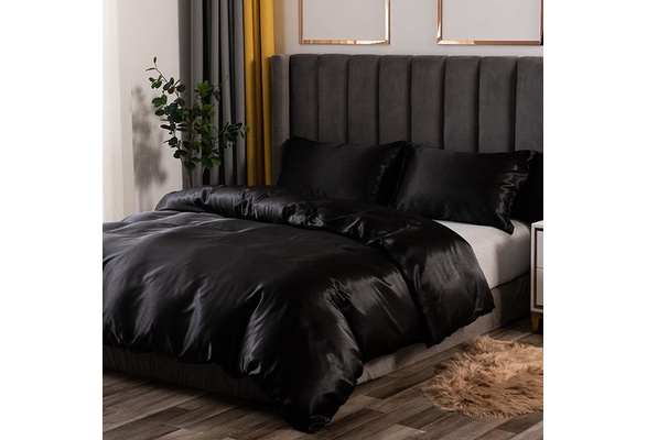 3/4 Pcs Home Textile Satin Silk Bed Sheet Set Solid Summer Bedding Set Flat Sheet Fitted Sheet Pillowcase King Queen Twin Full Size