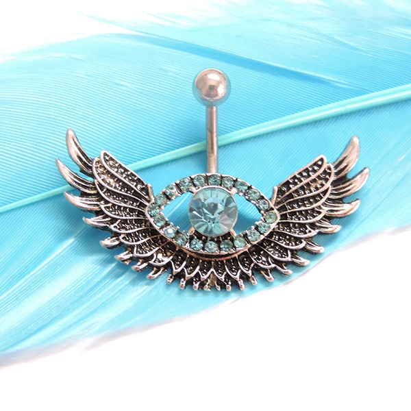 1pc Angel Wing Navel Piercing Sexy Crystal Evil Eye Belly Button Ring Body Jewelry Piercing Rhinestone Big Eye Belly Ring