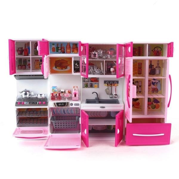 39PCS Mini Kids Kitchen Pretend Play Cooking Set Cabinet