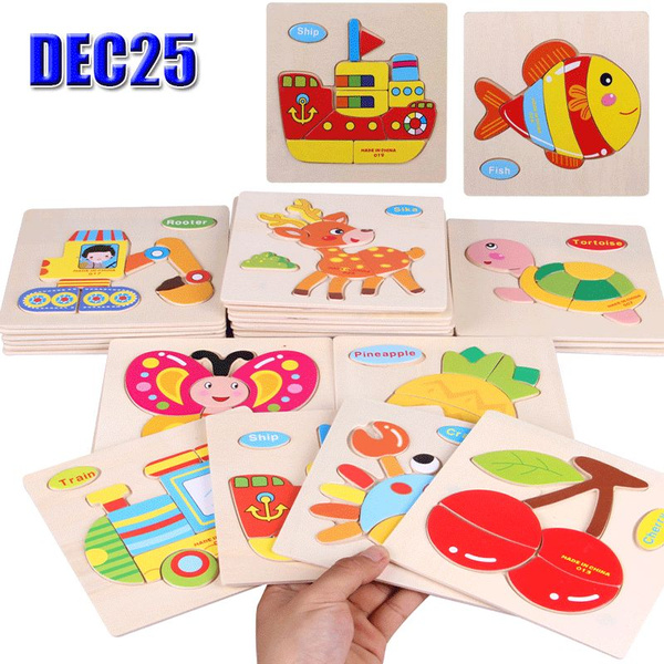 New Wooden 3D Puzzle Jigsaw Wooden Toys For Children Cartoon Animal Vehicle  Wood Puzzles Intelligence Kids Baby Early Educational Toy