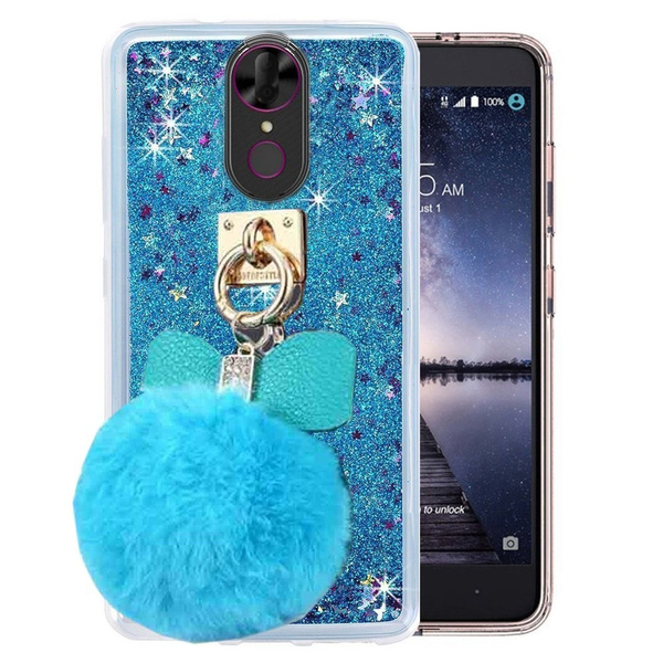 T-Mobile Revvl Plus Case,Coolpad Revvl Plus Case,Fluffy Pom-pom Ball  Sparkle Liquid Glitter Dynamic Stars TPU+Hard PC Case for Tmobile Revvl  Plus 6 0