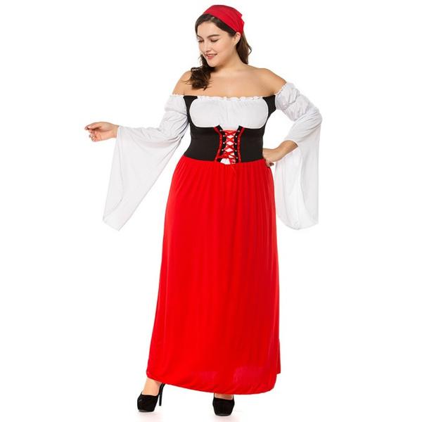 Wish Women Plus Size Oktoberfest Costumes Red Maid Fancy Dress
