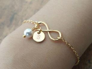 Charm Bracelet, Infinity, Pearl Bracelet, Jewelry