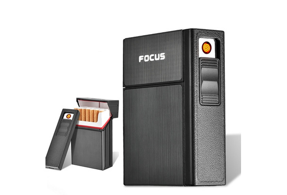 Portable Cigarette Box With Lighters Windproof USB Smoking Cigarettes Box Holder