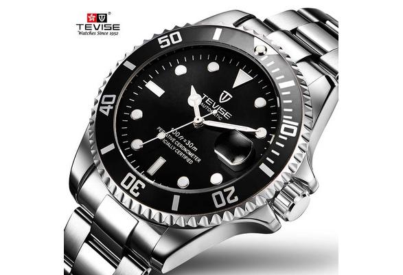 2017 Papel Tevise Marca Hombres Reloj Mec?nico Autom?tico Fecha Fashione Submariner Reloj Masculino Reloj Hombre de lujo Relogio masculino