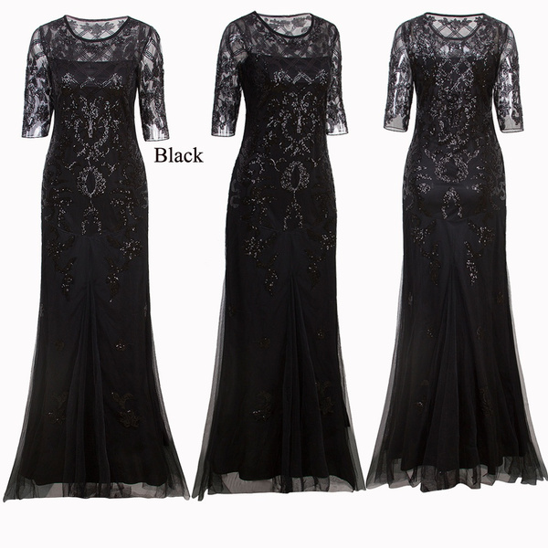 Wish | Long Wedding Prom Dresses 2/3 Sleeve Sequin Lace Party ...