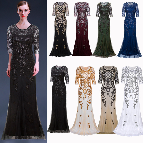 Long Wedding Prom Dresses 2/3 Sleeve Sequin Lace Party Evening Gown  Bridesmaids Dresses 20s 30s Style Plus Size 1920s Flapepr Costumes  Ballgowns 20