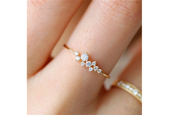 Simple 18k Gold Color Rings for Teen Girls Class Heart White Sapphire Studded Eternity Wedding Ring 925 Sterling Silver Engagement Stackable Diamond Rings for Women Fashion Jewelry Accessories Size 5-10