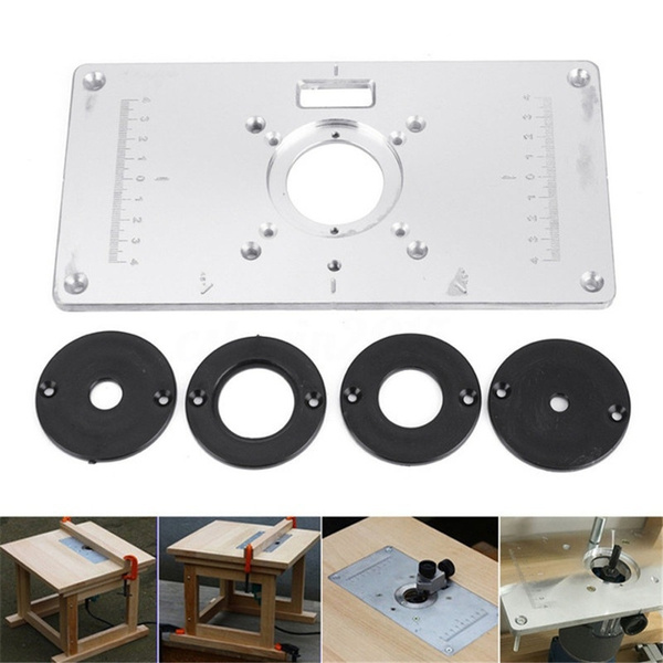 Wish aluminum router table insert plate with 4 rings and screws wish aluminum router table insert plate with 4 rings and screws for woodworking benches keyboard keysfo Gallery