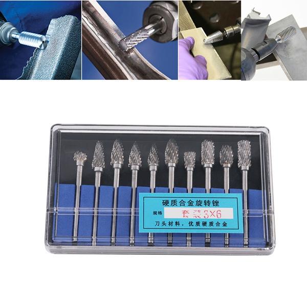 10pcs Dremel Carbide Burrs Drill Bit Set Rotary Burr Micro Drill Bits
