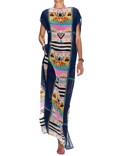 deade033a3 Bestyou Women s Print Chiffon Swimwear Turkish Kaftans Cover up Caftan Dress