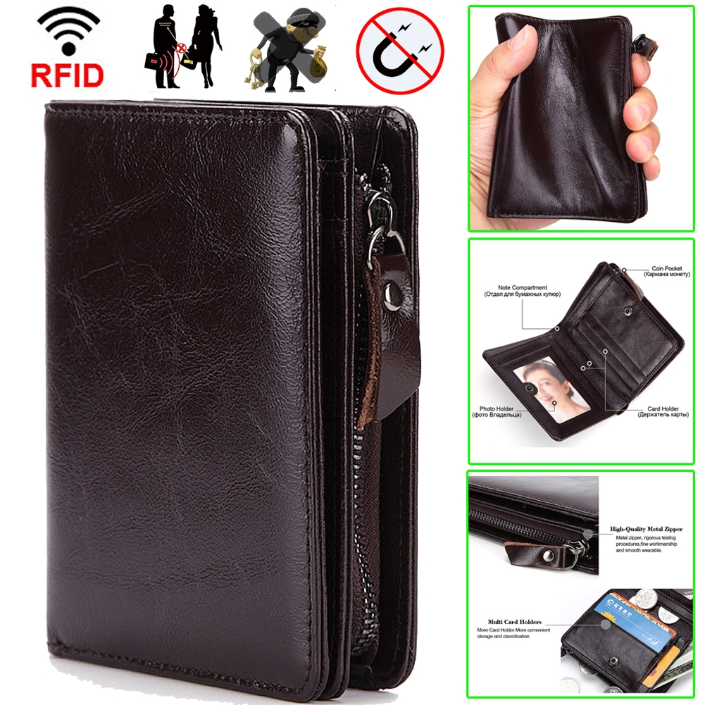 Vintage Designer Men Wallet Matte Leather Trifold Purse Card Holder Money Bag