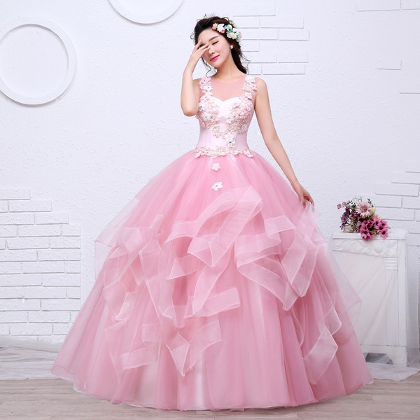 2d943d1cbc O Neck Tank Sleeveless Cheap Quinceanera Dresses Websites Pink Tulle High  Low Prom Gown Appliques Quinceanera Gowns