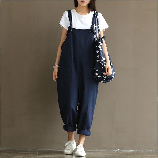 longtrouser, casualjumpsuit, Plus Size, Cotton