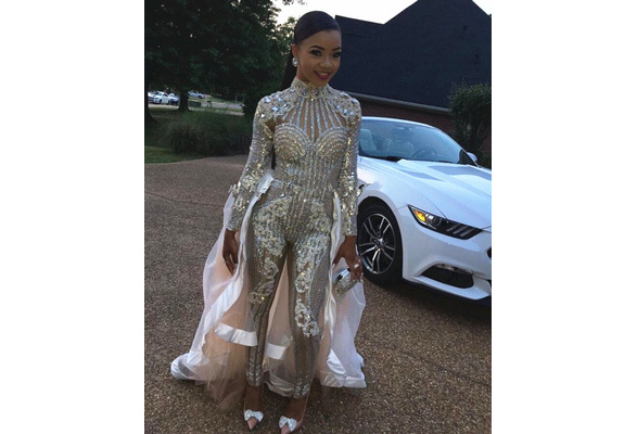 fe063d3eea Fashion Bright Crystals Diamonds Jumpsuit Party Rompers Costumes Female  Singer Performance Prom Celebrate Outfit Bodysuit