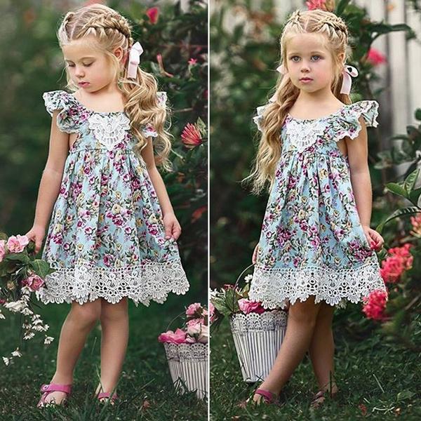 girls dress, summer dress, Floral print, ruffled