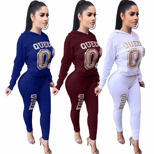 b1e7a6fa2b Spring 2 Piece Set Women Tracksuit Letter Long Sleeve Sweatshirt and Pant  Leisure Suits Two Piece Outfits Fashion Sweat Suits
