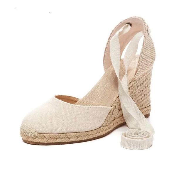 3f52396f4c8 Women Ankle Strap Espadrilles Wedge Sandals Summer Canvas Platform Wedges  Fashion Lace up Women Platform Sandals