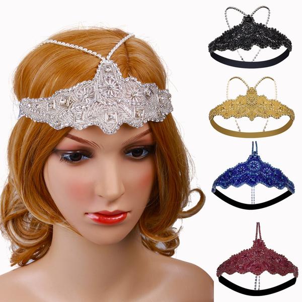 88d21a858873d Silver Headchain Headpiece Vintage 1920s Flapper Headband Crystal Jewelry  Hair Accessories 20s Roaring Great Gatsby Headdress Chain Beads