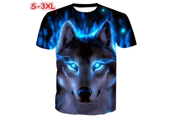 Funny 3D Wolf Printed Couple T-shirts Quality Hot Sale Street Tops