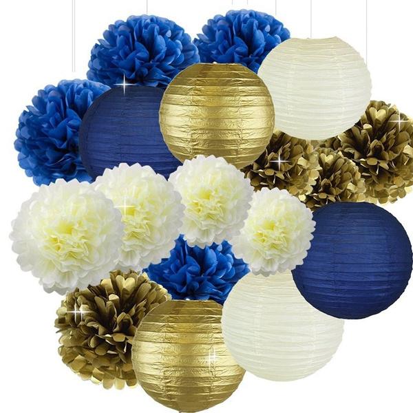 Cream Navy Blue Gold 8inch 10inch Tissue Paper Pom Pom Paper Flowers