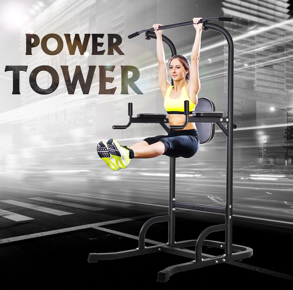 OneTwoFit Multi-Function Power Tower Adjustable Height Home Fitness Workout  Dip Station Pull up Bar Push Up