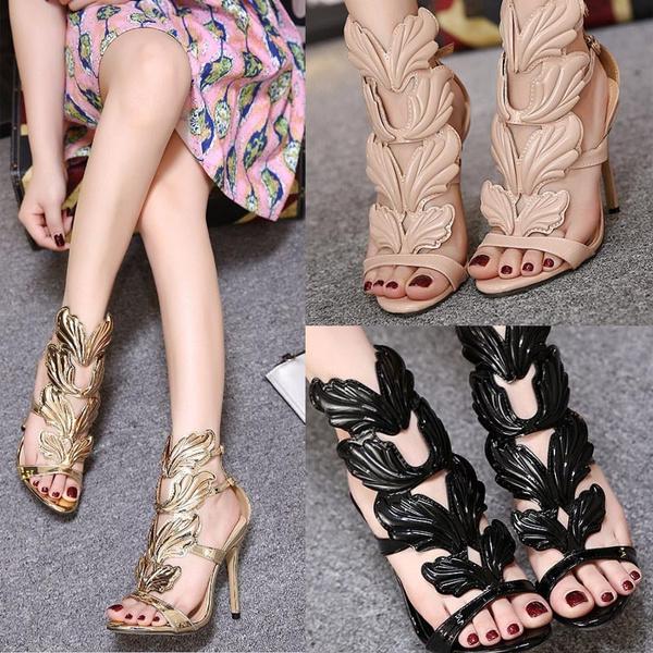 a2d827e92ed4 2018 V Hot sell women high heel sandals gold leaf flame gladiator ...