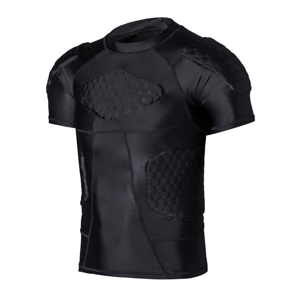 3ac8c9d2e Padded Compression Shirt Basketball Football Soccer Hockey Rugby Training  Suit for Men
