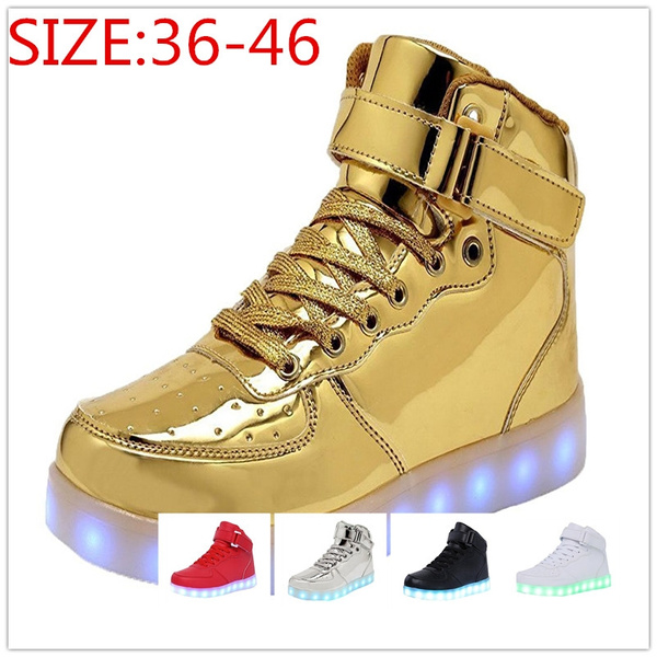 da7687db0af LED Light Up Shoes For Mens Womens High Top Flashing Rechargeable ...