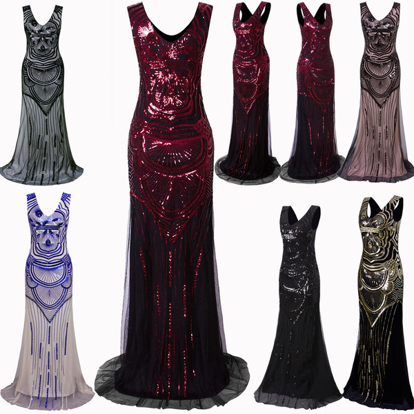 e7df9642a532c 1920s Long Maxi Prom Gowns Sequin Mermaid Bridesmaid Formal Evening ...