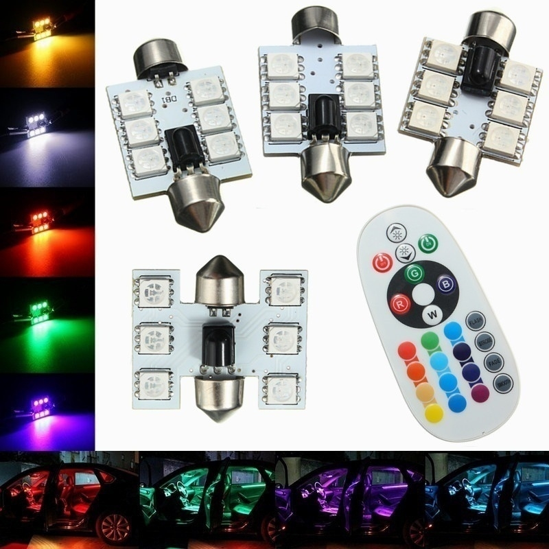 2x LED Car Interior Dome Reading Light Lamp Bulb RGB w//Remote Control 16 Colors