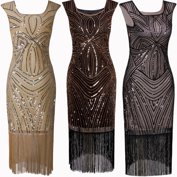 Sequins Tassels Dresses Women\'s 1920s Vintage Gatsby Inspired Beaded Long  Fringe Party Flapper Dress With Sleeves Plus Size Womens Costume Ladies ...