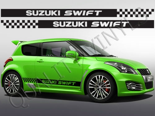 1set2pcs Rs79 Suzuki Swift Chequered Racing Stripes Graphic Decal Stickers