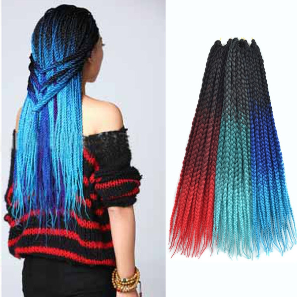 African 3s Box Braids Crochet Braids Synthetic Hair Extensions 18inches Black Green Blue Red Ombre Braiding Hair