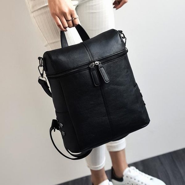 Backpack Women Leather Teenage Girls School Bags Vintage Solid Black Shoulder Gray
