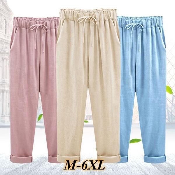 d77a8a41e531b8 2018 Summer Cotton Linen Pants Women Plus Size Women Pants Casual ...