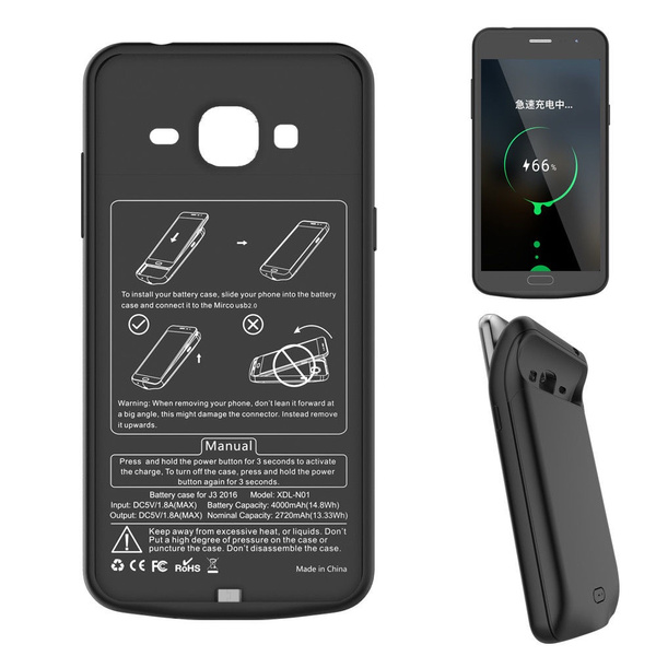 External Power Bank Pack Battery Case Charger Adapter for Samsung Galaxy J3  2016