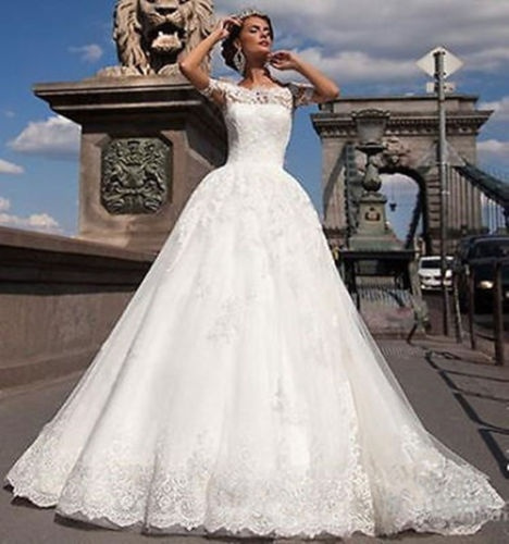 New Whiteivory Vintage Lace Bridal Dress Short Sleeve Tutu Skirt Bridal Dresses Stock Size Size6 8 10 12 14 16 18