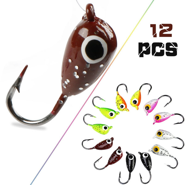 12pcs Ice Fishing Jigs Lead Jig Heads Fishing Lure Jigs Winter Metal Lures