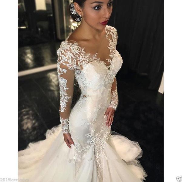 White/Ivory Mermaid Wedding Dress Lace