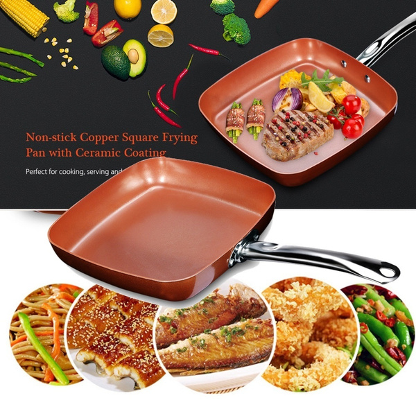 Non-stick Copper Square Frying Pan Skillet with Ceramic Coating Oven  Dishwasher Safe