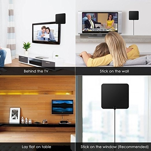 Digital Antenna TV Antenna for Digital TV Indoor 50+ Miles Range with  Detachable Signal Amplifier Booster for 1080P High Reception Aluminum Foil