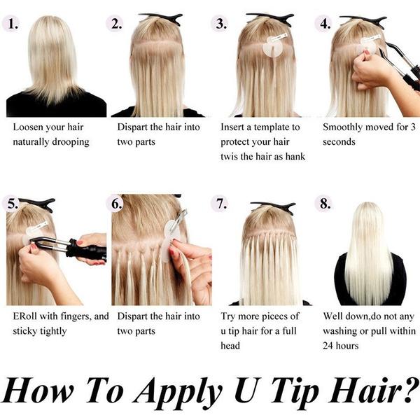 Wish 100s Keratin Bonded Nail U Tip Glue Remy Real Human Hair
