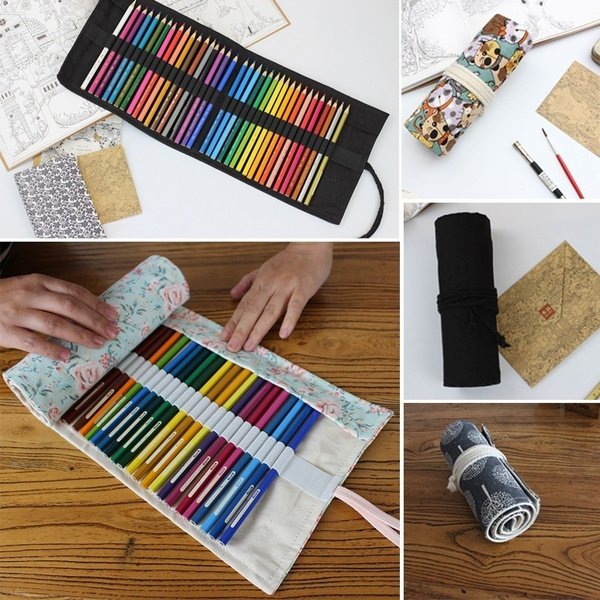 12/36/48/72 Holes Canvas Bag Holder Roll Stationery Pen Brushes Makeup Pencil Cas by Wish
